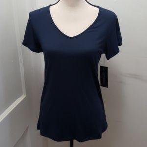 Rachel Joe Navy flutter short sleeve top S